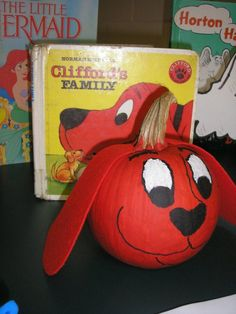 Clifford the Big Red Dog - Book Character Pumpkin (Pumpkin Painting Dog Pumpkin, Pumpkin Books, Pumpkin Art, Pumpkin Painting, Pumpkin Ideas, Halloween Pumpkins, Halloween Crafts, Holiday Crafts, Holiday Fun