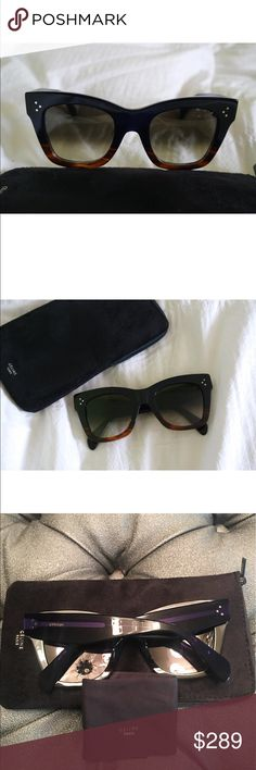 Celine Catherine ombré sunglasses Brand new Celine CL 41098F/S 50 Catherine Sunglasses.  Oversized cat eye frame This one is a deep blue almost black / Havana brown. Listed on my page you can also find black/Havana brown combo  Bloggers favorite.  Measures 50-23-145.  Comes with Celine case and cloth.  100% authentic. Celine Accessories Sunglasses