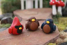 Polymer Clay Bird - Miniature Bird - Mini Clay Bird - Fairy Garden Accessory…