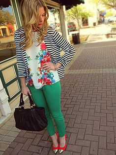 Spring outfit idea: stripes and floral pattern mixing.