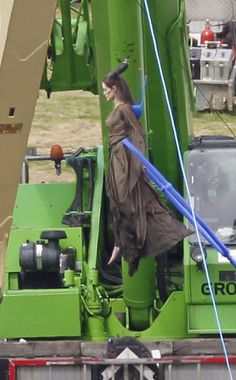 Angelina Jolie as Maleficent flying, with the help of a crane ;)
