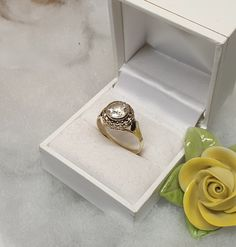 19,7 mm Nostalgischer Ring Gold 585 Kristall klar edel Vintage GR107 Ringe Gold, Gold Rings, Vintage, Jewelry, Crystals, Craft Gifts, Schmuck, Jewlery, Jewerly