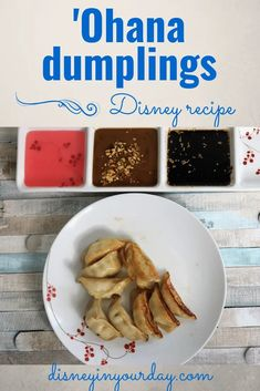 Ohana dumplings recipe - recreate some of your favorite Ohana dishes at home, like this easy Disney recipe for the Ohana dumplings! Served with 3 delicious dipping sauces - sweet and sour sauce, ginger garlic sauce, and peanut sauce. Disney in your Day #disneyrecipes #ohana #ohanadumplings #dumplingsrecipe #disneyfood Disney Food, Disney Recipes, Disney Diy, Walt Disney, Garlic Ginger Chicken, Copycat Recipes, Drink Recipes, Asian Recipes, Asian Foods