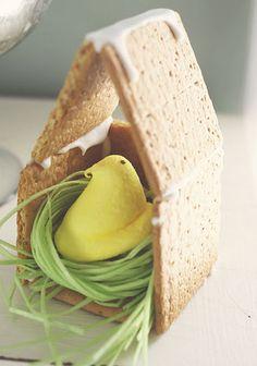 awww!  graham cracker bird house for little peeps!