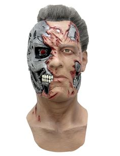 This Terminator Mask by Ghoulish is a highly detailed and officially licensed mask from the movies. Adulte Halloween, Masque Halloween, Halloween Men, Halloween Crafts For Kids, Halloween 2020, Halloween Face Makeup, Terminator Makeup, T 800 Terminator, Costume The Mask