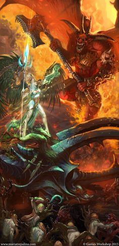 ArtStation - Alarielle vs Daemon Of Khorne Bloodthirster - Warhammer, Maria Trepalina