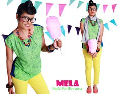 Mela printed top with pleat detailing and colour blocked back and megyar sleeves. An easy to wear piece that infuses fun into your summer wardrobe, team it with shorts, skirts or your favourite pair of denims and you're done. #top #printed #quirky #casualwear #design #art