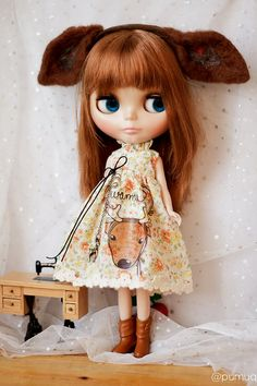Needle Felt deer dress for blythe with Deer headband by pumuq on etsy.com ^..^
