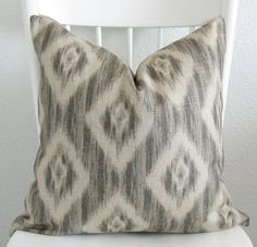 Decorative pillow cover -Throw pillow - Ikat pillow - 18x18 - Neutral - Ash beige - Cream - ikat - Linen - Designer fabric. $35.00, via Etsy.
