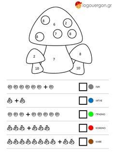 Στην έκδοση με χρήση συμβόλων τα παιδιά πρώτα πρέπει να μετρήσουν τα »χαρούμενα» σκίτσα ανά σειρά και να γράψουν το αποτέλεσμα στο αντίστοιχο κουτάκι .Τέλος ταυτίζουν το άθροισμα με τον αριθμό στην εικόνα και τη χρωματίζουν με το αντίστοιχο χρώμα  http://www.logouergon.gr/kano-prosthesi-xromatizo-manitaria/