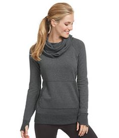 love everything -- front pocket, cowl neck, color... worried arms would not be long enough for thumb holes (I have long arms)