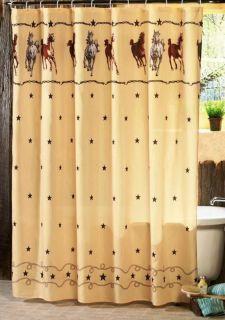 Western Theme Bathroom Decor Horses With Star Shower Curtain