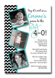 Chevron Stripe 30th 40th 50th 60th 70th Any Age Birthday Party Invitation Card - You Print