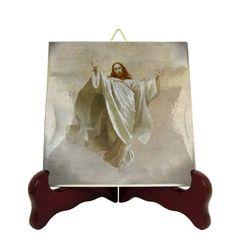 Christian Catholic art - Ascension of Jesus - religious icon on ceramic tile - catholic gifts - catholic handmade - catholic crafts - Holy Catholic Crafts, Catholic Prayers, Catholic Art, Religious Icons, Religious Gifts, Ascension Of Jesus, Tile Murals, Tile Coasters, Etsy Store