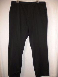 "Dockers Size 36 X 30"" Inseam Black Flat Front Classic Fit Cotton Mens Pants #DOCKERS #KhakisChinos"