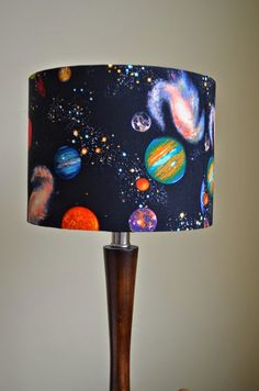 Lampshade Space Planets and Stars Cotton Drum Lamp shade by ShadowbrightLamps on Etsy
