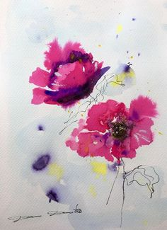 Aquarelle Originale Dam DomidoPavots Fleurs Flower  Artprice Akoun watercolor