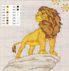 CHARMS AT CROSS POINT: The Lion King Cross Stitch Pillow, Cross Stitch Baby, Cross Stitch Charts, Disney Cross Stitch Patterns, Cross Stitch Designs, Cross Stitching, Cross Stitch Embroidery, Modele Pixel Art, Lion King Art