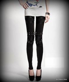 Faux Leather Leggings Women Rivet Gothic Legging Pants Black Cotton Thermal Trousers Fitness Clothing for Women Latest Street Fashion, Latest Fashion For Women, Womens Fashion, Punk Fashion, Fashion Pants, Fashion Top, High Fashion, Woolen Dresses, Galaxy Leggings