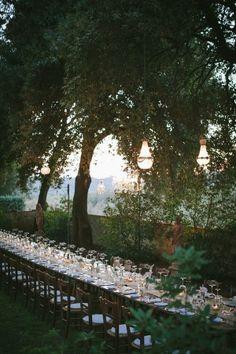 Long table for a Tuscan reception at Borgo Casabianca.