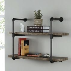 2 Tiers Floating Shelves Water Pipe Decorative Wall Mounted on Home Shelves Ideas 237 Industrial Pipe, Industrial Farmhouse, Farmhouse Homes, Farmhouse Design, Farmhouse Decor, Small Space Living, Living Spaces, Copper Pipe Shelves, Plumbing Pipe Shelves