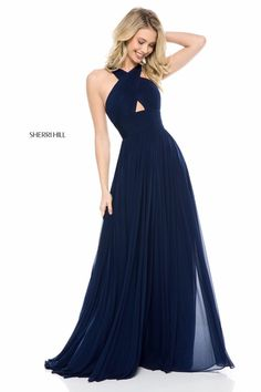 Style 51903 #Navy Size 2 #SherriHill #SherriHillProm #Prom #Prom2018 #PromDress #Fashion #SpringSummer18 #PromFashion #InstaProm #GownInspo #SherriHillStyle #BridesBouquet #Greecian #Goddess #DarkBlue #NavyBlue #CrissCross
