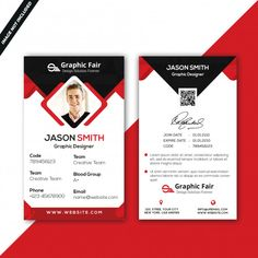 Black and white business card with red details PSD file Identity Card Design, Id Card Design, Id Design, Id Card Template, Flyer Template, Card Templates, Templates Free, Photoshop, Microsoft Word Resume Template