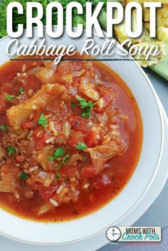 If you loved stuffed cabbage rolls, you will love this Crockpot Cabbage Roll Soup Recipe! A tasty dinner on a cool day!