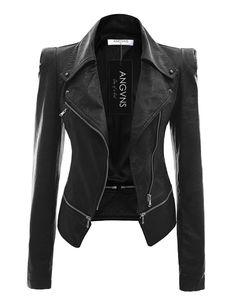 Autumn Women faux Leather Jacket Gothic Black moto jacket Zippers Long sleeve Go Vegan Leather Jacket, Faux Leather Jackets, Pu Leather, Black Leather, Real Leather, Leather Coats, Custom Leather, Cowhide Leather, Faux Jacket