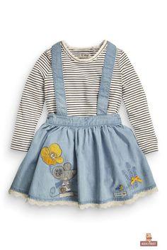 Buy Denim Mouse Skirt Set from the Next UK online shop Toddler Fashion, Kids Fashion, Girl Closet, Future Daughter, Kids Wear, Children Wear, Summer Baby, Kind Mode, Latest Fashion For Women