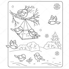 Winter Wonderland Coloring Sheets Awesome Coloring Pictures Of Winter – Bestofpage Coloring Pages Winter, Bird Coloring Pages, Coloring Sheets, Coloring Books, Winter Colors, Winter Theme, Feeding Birds In Winter, Cartoon Birds, Bullfinch