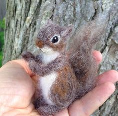 Needle Felted Squirrel Miniature Baby by ClaudiaMarieFelt on Etsy https://www.etsy.com/ca/listing/98932477/needle-felted-squirrel-miniature-baby