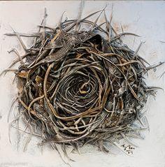 "24""x24"" - Acrylic on Panel - Sculpted Nest - Artist, Justin Gaffrey"