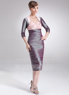 Sheath/Column Sweetheart Knee-Length Taffeta Mother of the Bride Dress With Ruffle Flower(s) (008006248)