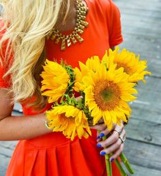 sunflowers and blue nails :)