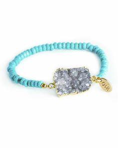 druzy + turquoise beaded bracelet