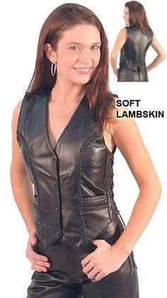 Premium Lambskin Leather Vest with Braid Trim