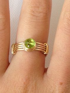 Peridot Wire Wrap Ring On 14k Gold Fill by LoveYourThreads on Etsy, $55.00