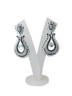 "Amazon.com: Bollywood Designer Black American Diamond Earrings with Polki Beads ""Tarini Jewels"": Tarini Jewels: Jewelry"