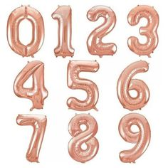New 16 Inch Rose Gold Digit Foil Number Balloons Number Air Balloon Wedding Birthday Decorations Event Party Supplies Rose Gold Number Balloons, Foil Number Balloons, Jumbo Balloons, Large Balloons, Black Balloons, Giant Balloons, Mylar Balloons, Engagement Party Decorations, Balloon Decorations Party