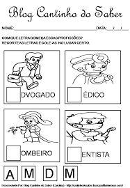 Resultado de imagem para trabalhando profissões na educação infantil