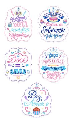 Lettering Tutorial, Lettering Design, Logo Doce, Candy Logo, Instagram Blog, Printable Designs, Candy Colors, Design Reference, Cute Stickers