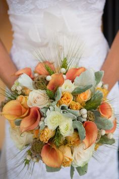 Mini Callas, Dusty Miller, Roses, Scabiosa Pods, Snowberries, Spray Roses and Wheat (Bouquet by Natural Beauties Floral)