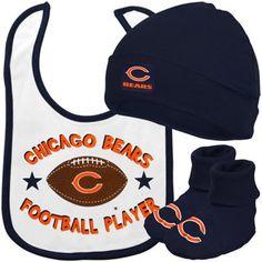 Gerber Chicago Bears Newborn Navy Blue-White 3-Piece Bib, Bootie & Beanie Set