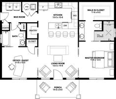 Plan No.580988 House Plans by WestHomePlanners.com Ranch Style Homes, Country Style Homes, Custom Home Designs, Custom Homes, Home Room Design, House Design, Affordable House Plans, Garage Floor Plans, Compact House