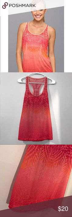 """PrAna Aztec Tank Top Fire Red Ombré +beautiful condition +worn once +practically new +no stains, holes, piling, etc. +lightweight, airy material    Sporty racerback tank Slub performance jersey knit Unlined Relaxed fit 100% Polyester   Product Highlights  The sporty prAna Luca Tank is relaxed for a flattering fit. Quick dry properties are ready for running and cross training.   Measurements: Bust- 36"""" Length- 26.5"""" Prana Tops Tank Tops"""