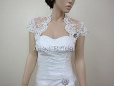 Ivory cap sleeve alencon lace bolero jacket bridal by alexbridal, $99.99