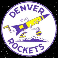 Denver Rockets Primary Logo (1972) - A rocket dribbling a basketball over mountains in a circle with team name