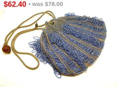 Antique Beaded Pouch Bag Purse  Blue Beads  by thejewelseeker