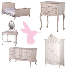 Elaborate carvings, a cherub mounted atop the armoire overseeing your wardrobe? Effortlessly elegant with shabby chic distressing and classic antique white colouring? Introducing our delectable Delphine collection of French-style furniture. Girls Furniture, French Furniture, Shabby Chic Furniture, Home Furniture, Dream Bedroom, Girls Bedroom, Beach Sunset Wallpaper, Shabby Chic Interiors, Furniture Collection